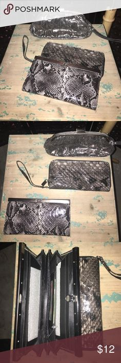 1)Clutch 2)Wallets Super cute wallets and Clutch! One wallet can be used as a wristlet too! Great shape and perfect for a special occasion or everyday use! Bags Clutches & Wristlets