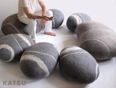 """Poufs made of wool. Models of poufs """"Sea Pebble"""" and """"Scandinavian Stone"""". A set of or or 7 stones. KATSU is wool cushions and poufs. Wool Pillows, Throw Pillows, Floor Cushions, Floor Pouf, Kid Spaces, Wool Felt, Felted Wool, Lana, Etsy"""