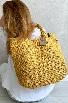 Crochet Tote, Knit Crochet, Crochet Home Decor, Crochet Girls, Boho Bags, Jute Bags, Baby Knitting, 30 Degrees, Large Tote
