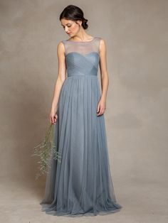 A-Line Scoop Neckline Sweep Train Tulle Bridesmaid Gown With Pleats
