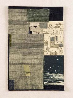 Yuko Kimura, collage, Boro no. 4, intaglio, old Japanese book page, fabric, thread, 15 in x 12 in, 2008 yukokimura.com