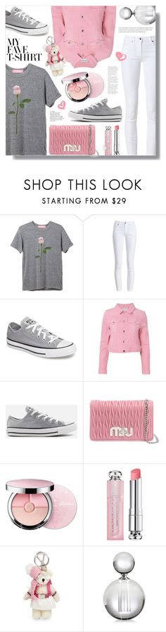 """Dress Up a T-Shirt"" by ames-ym ❤ liked on Polyvore featuring Barbour, Converse, Cotton Citizen, Miu Miu, Guerlain, Christian Dior, Prada, converse, sneakers and whitejeans"