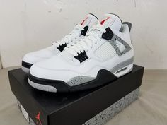 separation shoes 7d21f ab29b Details about Nike Air Jordan 4 Retro OG White Cement Size 12-18 Red Black  Grey 840606-192