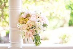 Beautiful Bridal Bouquet with soft color palette. Light pink, yellow, cream, and green.  #wedding #bride #flowers #pink #cream #bouquet #waltersweddingestates