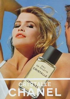 Cristalle by Chanel avec Claudia Schiffer My one and only favorite. Not always easy to find and I can't afford it right now but it will always be my first love. Perfume Ad, Vintage Perfume, Perfume Oils, Perfume Bottles, Perfume Fragrance, Vintage Chanel, Claudia Schiffer, Vintage Vogue, Vintage Ads