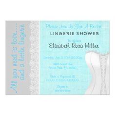 Cute White Lace Corset Lingerie Bridal Shower Custom Invitations