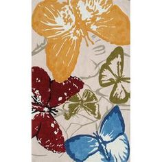 Indoor/outdoor butterfly print rug.   Product: RugConstruction Material: Polyester-acrylic blendColor: Red, blue, yellow, ivory, gray and greenFeatures: Suitable for indoor and outdoor useNote: Please be aware that actual colors may vary from those shown on your screen. Accent rugs may also not show the entire pattern that the corresponding area rugs have.Cleaning and Care: Clean with mild soap and garden hose