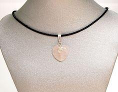 "Natural Gemstone Rose Quartz Heart Pendant Necklace Silver Plate 16""Fengshui USA #Handmade #Pendant #Love #Healing #Protection #Goodluck #Semiprecious #Stone"