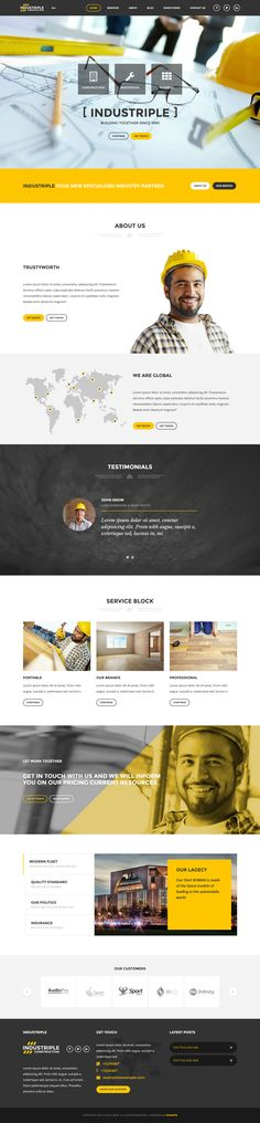 Buy Industriple - Multi Industrial WordPress Theme by DirectoryThemes on ThemeForest. Industriple is a multi-industry wordpress theme for companies and individuals. With our theme you will be able to qui. Layout Design, Web Layout, Wordpress Website Design, Wordpress Theme Design, Website Design Inspiration, Blog Design, Design Design, Design Ideas, Wireframe