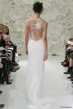love marley watters bridal spring 2015 rosalie georgette sheath wedding dress illusion straps back view