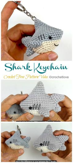 Amigurumi Shark Keychain Crochet Free Patterns – Crochet & Knitting Best Picture For crochet crafts For Your Taste You are looking for something, and it. Crochet Keychain Pattern, Crochet Patterns Amigurumi, Knitting Patterns, Softie Pattern, Cat Amigurumi, Crochet Amigurumi Free Patterns, Afghan Patterns, Crochet Shark, Crochet Elephant