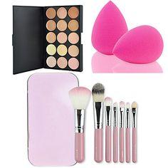 15 colori facciale contorno correttore crema palette + 7pcs rosa pennelli trucco box set corredo + soffio di polvere del 3917629 2016 a €9.79