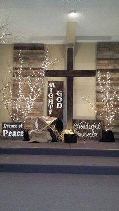 Christmas stage design … Artificial fir tree as Christmas decoration? An artificial Christm… - Moyiki Sites Church Altar Decorations, Church Christmas Decorations, Christmas Backdrops, Christmas Nativity, Christmas Tree, Church Lobby, Church Foyer, Church Interior Design, Church Stage Design