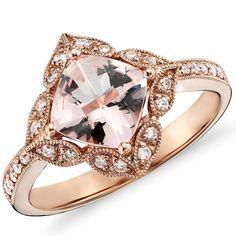2.83CT Morganite & Diamond  Ring 14K Rose Gold Halo Vintage Antique Floral Style Size 4-9