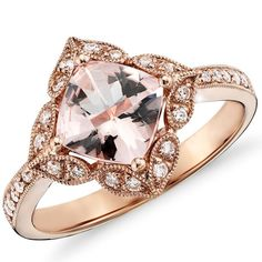 2.83CT Morganite & Diamond Engagement Ring 14K Rose Gold Halo Vintage Antique Floral Style Size 4-9