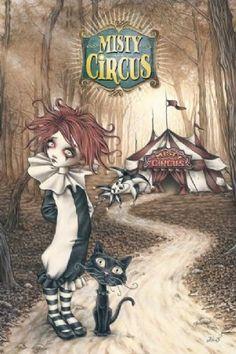 """""""Sasha Poupon"""" l'arlequin et Josh le chat de Misty Circus. Illustration de Victoria Francés (1982) artiste peintre espagnole. CK"""