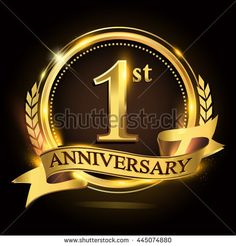 1st golden anniversary logo with ring and ribbon, laurel wreath vector design.