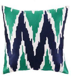 Ikat Zigzag Pillow, Navy & Kelly Green - contemporary - pillows - by Shop Ten 25