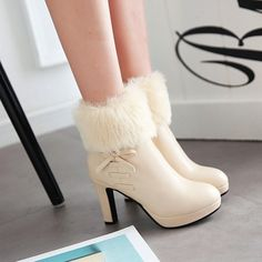 Womens Round Toe Side Zip Bowknot Warm Fur Bowknot Block Heel Shoes Ankle Boots