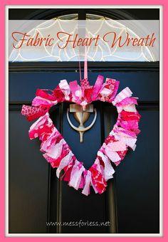 Valentine Decoration: Heart Shaped Fabric Wreath, #crafts, #Valentines