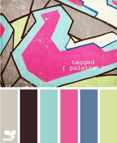 Campys' nursery = aqua, pale lime, pink, with black furniture & touches of gray & red. LOVE! :) big is coral instead of pink???