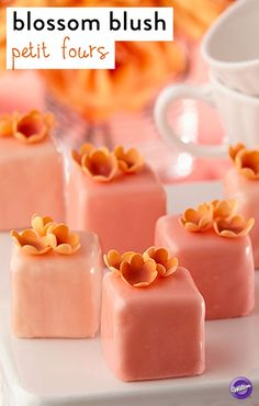 Make these lovely blossom blush petit fours to celebrate Mother's Day! They are covered with luscious Candy Melts candy and topped with tiny gum paste blossoms. They are also a perfect dessert to serve for an afternoon springtime tea.