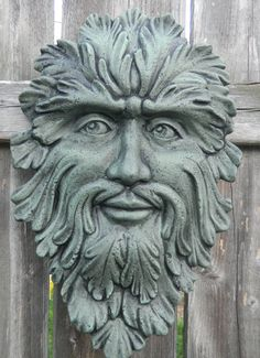Green Man Face  ceramic Wall hanger Teal green by SueSueSueCrafts, $24.00