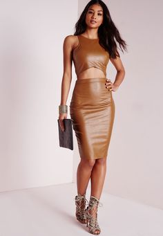 Faux Leather Midi Skirt Tan - Faux - Leather - Skirts - Missguided