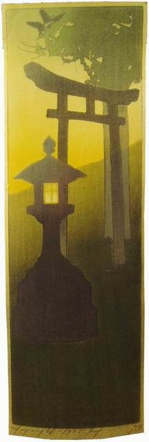"Another woodblock print by Bertha Lum  ""Evening"""
