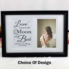 Love You To The Moon Typography Frame Frame Display, Australia Living, Unique Gifts, Handmade Gifts, Typography Quotes, Personalized Gifts, Love You, Baby Shower, Moon