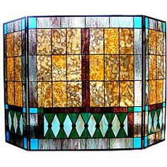 Mission Design Stained Glass Fireplace Screen   Overstock.com Shopping - Great Deals on Decorative Screens