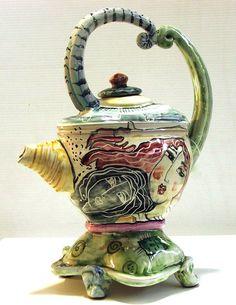 Majolica teapot by Kathleen Raven, from Salt Spring Island. Salt Spring Island Bc, Ceramic Pottery, Tea Pots, Clay, Fancy, Ceramics, Raven, Tableware, Handmade