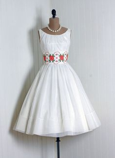 Party Dress, Original Junior Theme: 1950's, New-York embroidered floral sheer nylon chiffon.