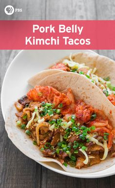 Make Pork Belly Kimchi Tacos for a Korean-style Mexican dish using marinated pork, sweet and spicy ginger and garlic sauce and sautéed onions.