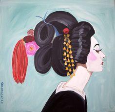 """Geisha Audrey"" 24 x 24"