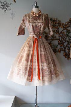 Vintage - Fabulous 1950's Sheer Silk Organza Tangerine Rose Print Full Skirt Cupcake Party Mad Men Dress