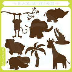 Baby Animals Silhouettes - cute animals, lion, giraffe, fox, tiger, baby, jungle, premade logo- Personal and Commercial Use Clip Art. $5.00, via Etsy.