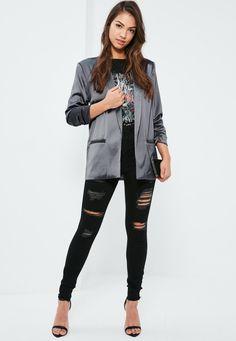 Missguided - Grey Gathered Sleeve Satin Longline Blazer
