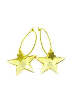 Borte for alltid???   Jeg klarte å knuse swarowski-stjerna i favorittsmykket mitt fra Zuzanna G. Smykkene er nok ute av produksjon, men det er lov å håpe...  Zuzanna G Øredobber STAR 28 MM GOLDEN SHADOW Stars, Sterne, Star