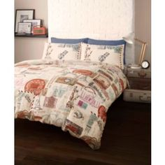 Around the world stamps travel single duvet quilt cover bedding set within themed sets decor King Size Duvet Covers, Double Duvet Covers, Bed Duvet Covers, Duvet Sets, Duvet Cover Sets, Cover Pillow, Blanket Cover, Bedroom Themes, Bedroom Decor