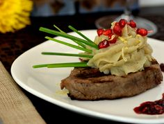 Seared filet mignon with a pomegranate cabernet reduction sauce