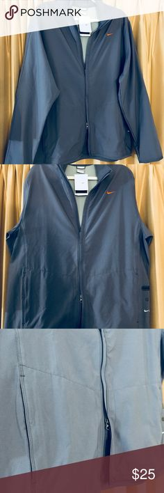 """NIKE MENS NWT FITDRY LIGHTWEIGHT JACKET LG New with tags! Nice neutral color and soft fabric. 2 way zip feature.   Chest 46"""" Length 29"""" Sleeves 27"""" Nike Jackets & Coats Lightweight & Shirt Jackets"""