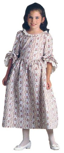 """Felicity's ivory rose garden gown with flower print & elbow length white ruffle sleeves. This Colonial dress costume was from """"Dress Like Your Doll"""" by American Girl."""