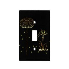 Gold Cat and Flower Switch Plate Covers