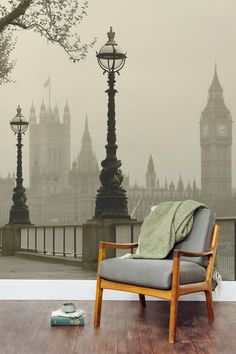 Take a stroll along the River Thames with this beautiful sepia mural. Perfect for the home office or reading nook, making your living space feel bigger.
