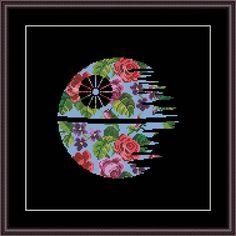 Star Wars Cross Stitch PDF pattern Floral Death Star - Silhouette