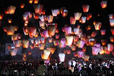 PingXi Sky Lantern Festival 2015 新北市平溪天燈節 - Sky lanterns were released to follow the wind, rising up to the ancestors to report that all was well and to pray for blessings. Slowly this evolved to become a local event for the Yuanxiao Festival in the Pingxi area.  平溪國中 ( 週五,正月初九 ) -與台東縣政府結盟加入熱氣球天燈活動。 New Taipei City, Taiwan. 2015/2/27