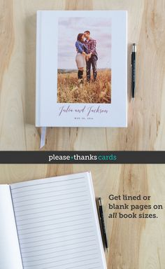 Modern Photo Wedding Guest Book with pretty script text. Personalize with your wording and photo. Great for a photo booth guest book!