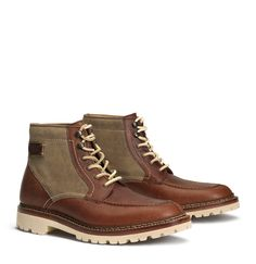 Trask Men's Boot - Elkhorn - Moc  Toes Derby in Cognac American Bison and Khaki Waxed Canvas