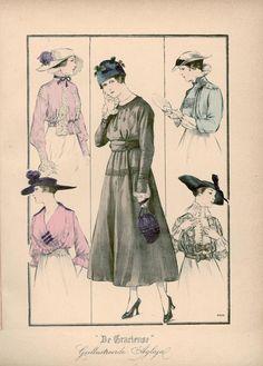 [De Gracieuse] No. 1. Blouse van zijden voile met ingewerkte Venetiaansche kant. No. 2. Blouse van crèpe-de-Chine. No. 3. Eenvoudige japon van stof. No. 4. Blouse van crèpon versierd met borduursel. No. 5. Elegante blouse van soepel taffet, bedekt door kant (March 1916)